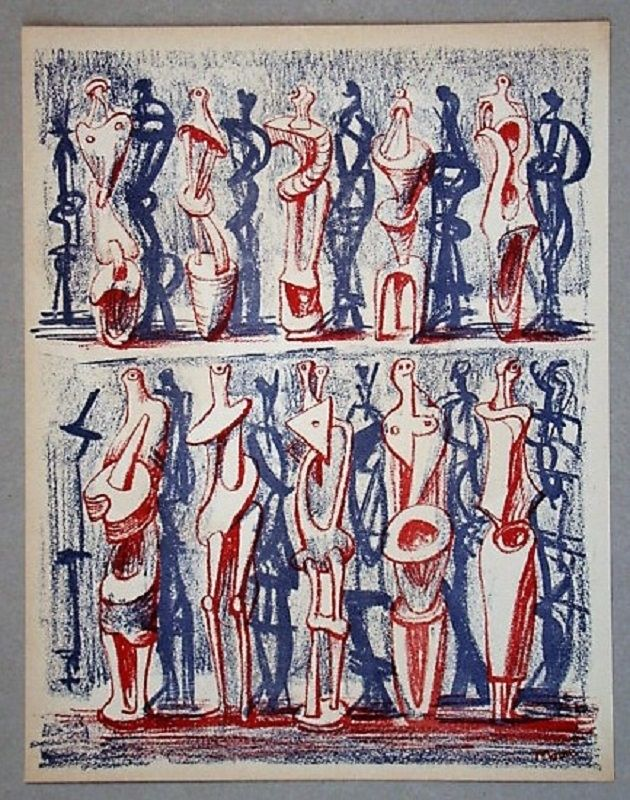 Lithograph Moore - Figures and shadows