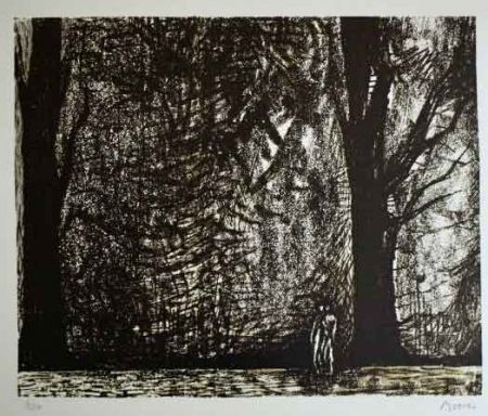 Lithograph Moore - FIGURES IN A FOREST