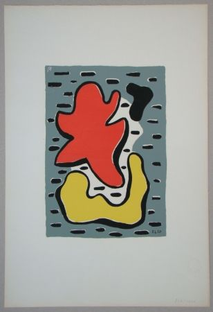 Screenprint Leger - Figures rouge et jaune, 1950