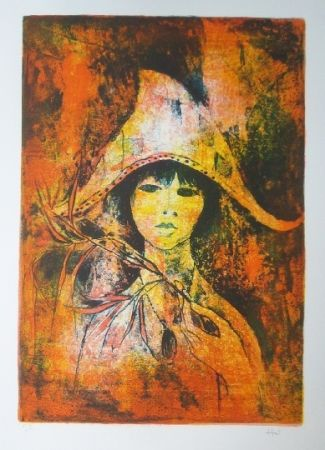 Lithograph Lebadang - Fille au chapeau