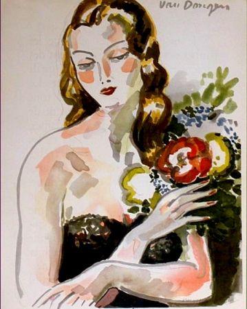 Lithograph Van Dongen - Fille au Fleurs