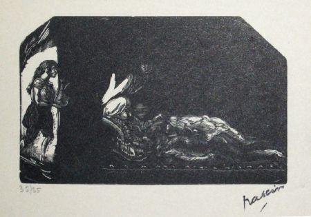 Woodcut Pascin - Fille avec fleur et scene de Harem