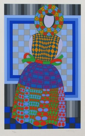 Screenprint Vasarely - Fille Fleur