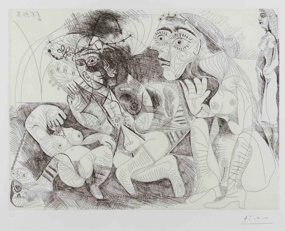Etching Picasso - Filles Entre Elles- La Recreation en Masque