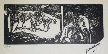 Woodcut Pascin - Filles et cavaliers