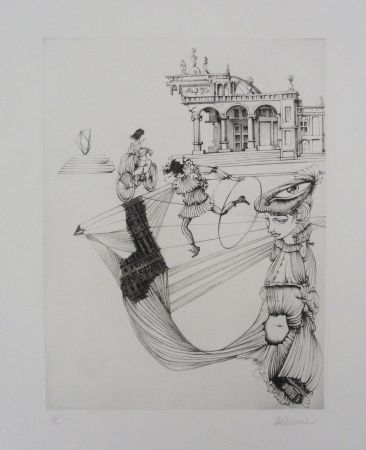 Etching And Aquatint Bellmer - Filles Et Cerceau