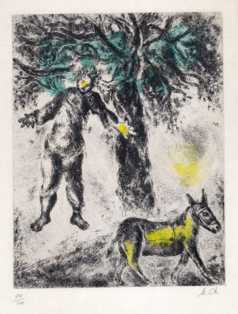 Engraving Chagall - Fin d'Absalom