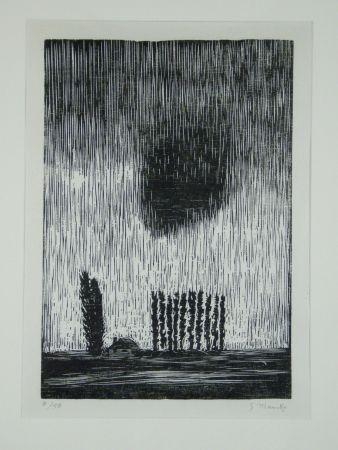 Woodcut Marcks - Finstere Wolke (Dark Cloud)