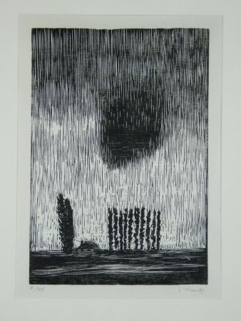 Woodcut Marcks - Finstere Wolke (Dark Cloud)