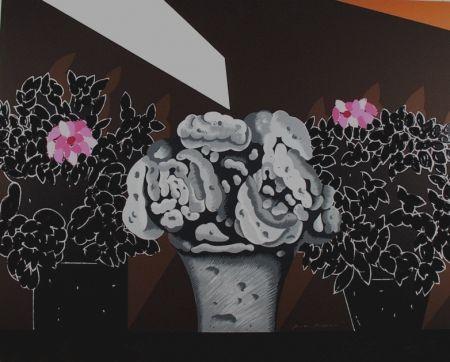 Screenprint Pozzati - Fiori neri