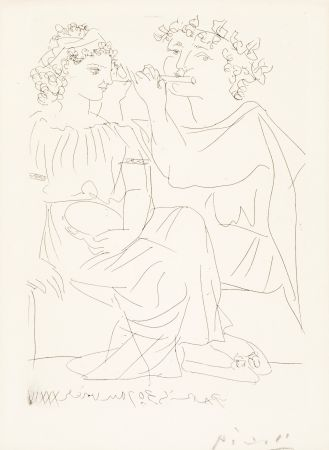 Etching Picasso - Flûtiste et Jeune Fille au Tambourin (Flutist and Tambourine girl) from the Vollard Suite, 1934