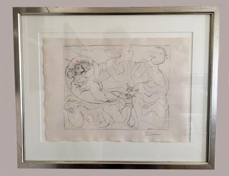 Lithograph Picasso - Flûtiste et trois Femmes nues' de la 'Suite Vollard', 1932