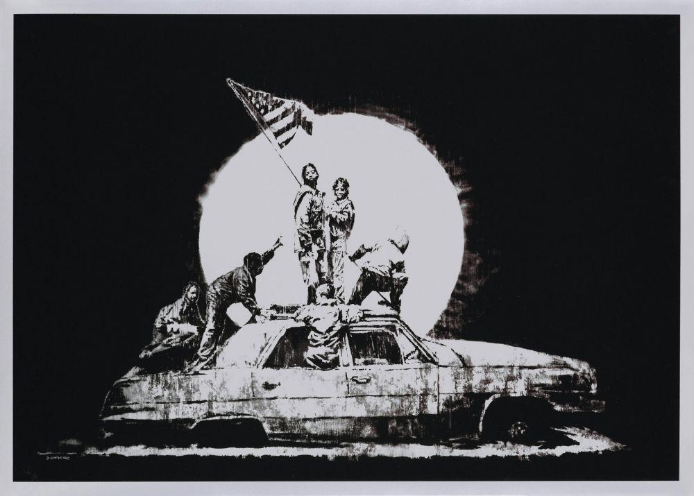 Screenprint Banksy - FLAG (SILVER)