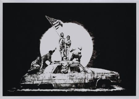 Screenprint Banksy - FLAG (SILVER)