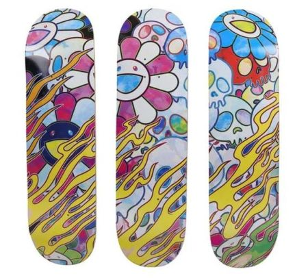 No Technical Murakami - Flaming Skulls (skateboard deck)