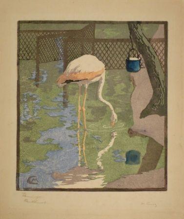 Woodcut Cunz - Flamingo