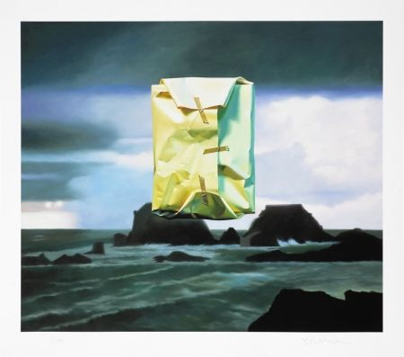 Numeric Print Edelmann - Flashlighted floate parcel in stormy ocean and sky