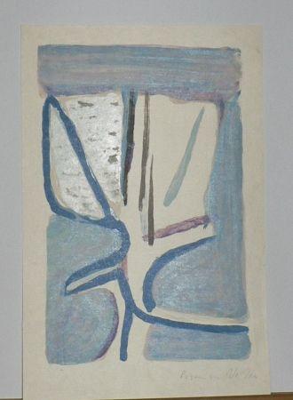 Lithograph Van Velde - Fleur Légère