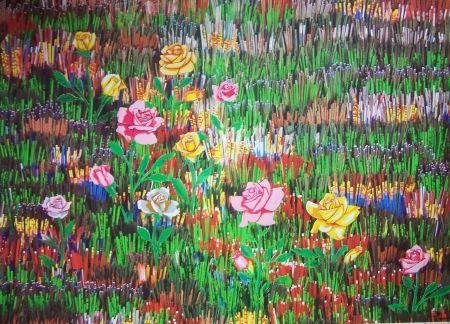 Lithograph Pavlos - Fleurs