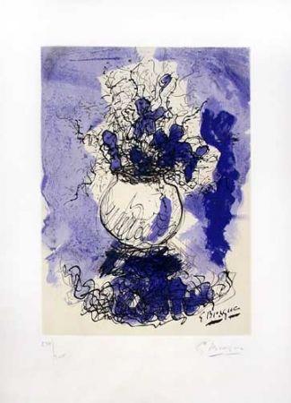 Lithograph Braque - Fleurs a L'Aquarelle (1957)