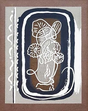 Woodcut Braque - Fleurs Blanches