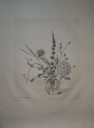 drypoint de kiyoshi hasegawa fleurs d 39 automne on amorosart. Black Bedroom Furniture Sets. Home Design Ideas