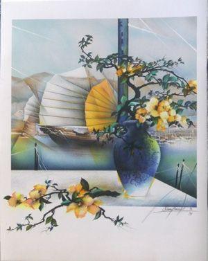 Lithograph Poulet - Fleurs de chine