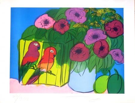 Lithograph Ting - Fleurs et perroquets