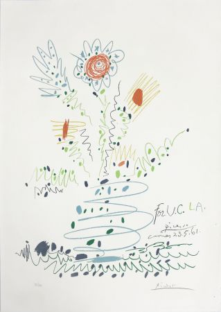 Lithograph Picasso - Fleurs (for UCLA)