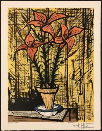 Lithograph Buffet - Fleurs oranges dans un pot
