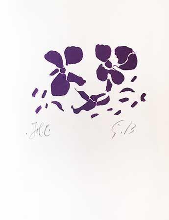 Woodcut Braque - Fleurs violettes