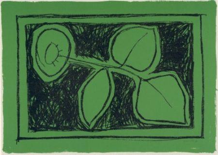 Lithograph Hernandez Pijuan - Flor sobre verd