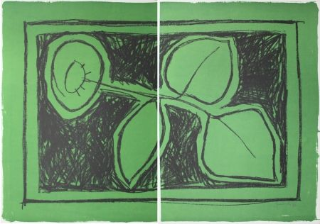 Lithograph Hernandez Pijuan - Flor sobre verd / Flower on Green