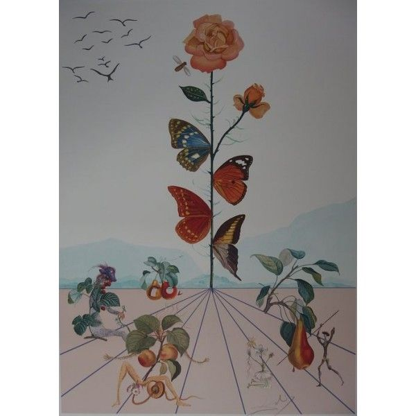 Lithograph Dali - Flordali II : la rose papillon