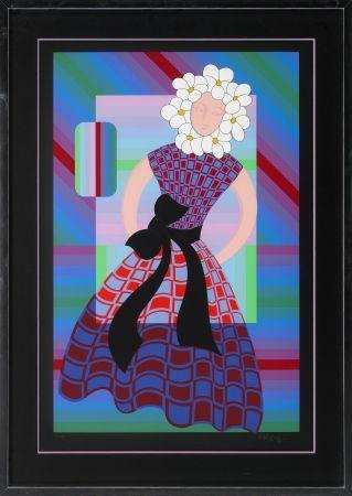 Screenprint Vasarely - Flower Girl