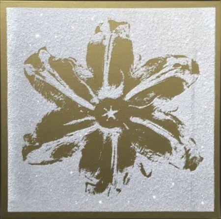 Screenprint Robierb - Flower Power (Gold on White)