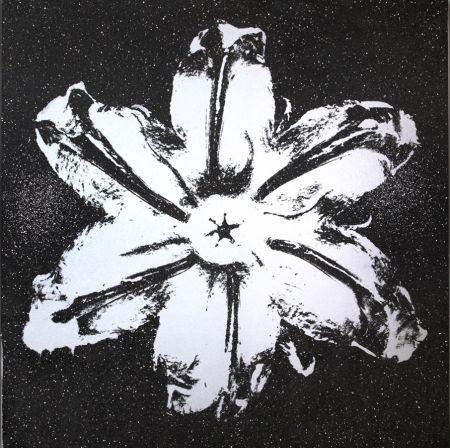 Screenprint Robierb - Flower Power (Silver on Black)