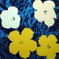 Screenprint Warhol (After) - Flowers blue white