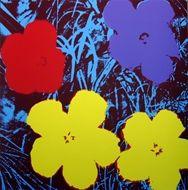 Screenprint Warhol - Flowers blue yellow