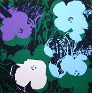 Screenprint Warhol (After) - Flowers green purple