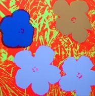 Screenprint Warhol - Flowers red