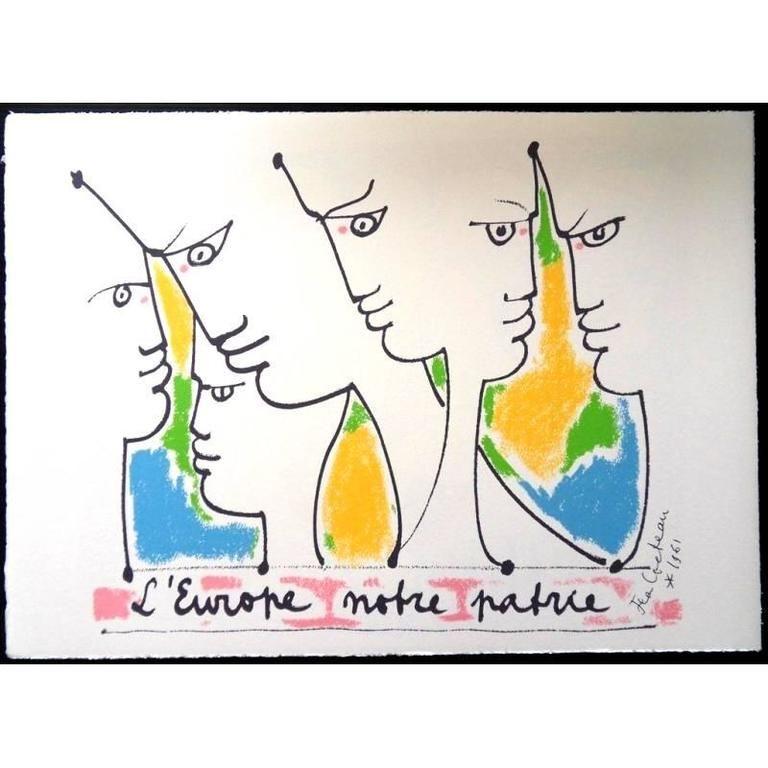Lithograph Cocteau - Fondateurs de l'europe
