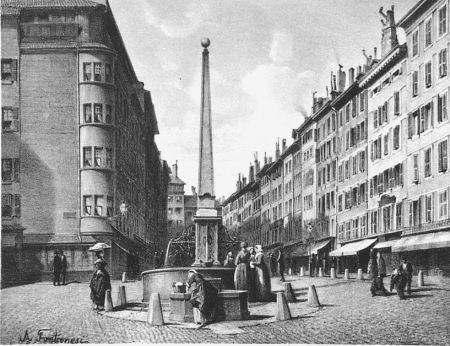 Lithograph Fontanesi - Fontaine et rue de Coutance