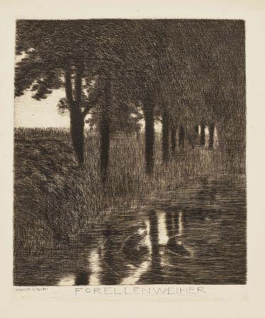 Engraving Von Stuck - Forellenweiher