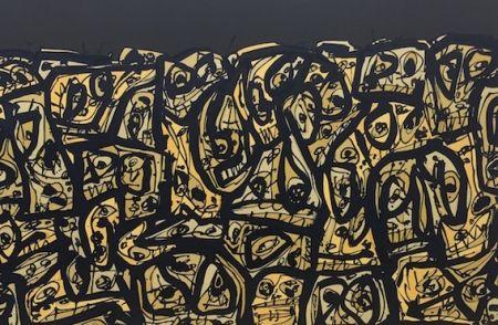 Lithograph Saura - Foule