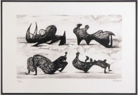 Lithograph Moore - Four silhouette figures