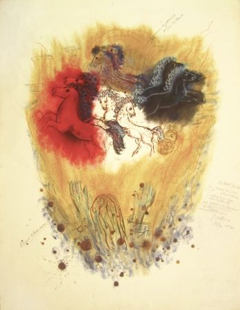 Lithograph Rubin - Four Spirits of the Heavens – From the Portfolio Visions of the Bible