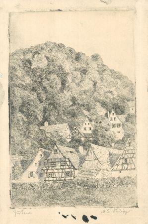 Etching Philipp - Fränk.  Dorf Eggloffstein