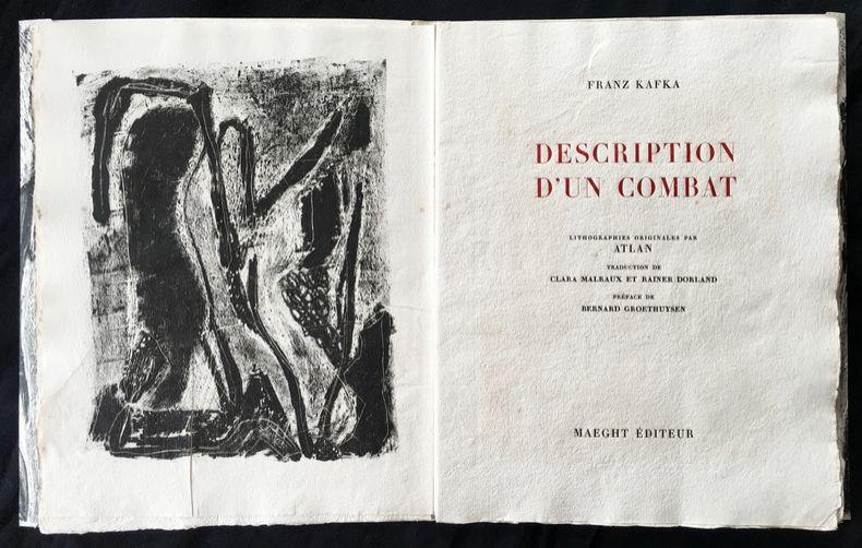 Illustrated Book Atlan - , Franz Kafka. DESCRIPTION D'UN COMBAT. Lithographies originales d'Atlan.