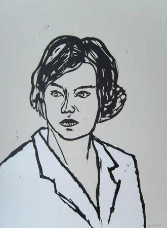 Woodcut Balkenhol - Frau